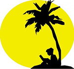 Sunshine State Readers logo - silhouette of child reading book next to palm tree